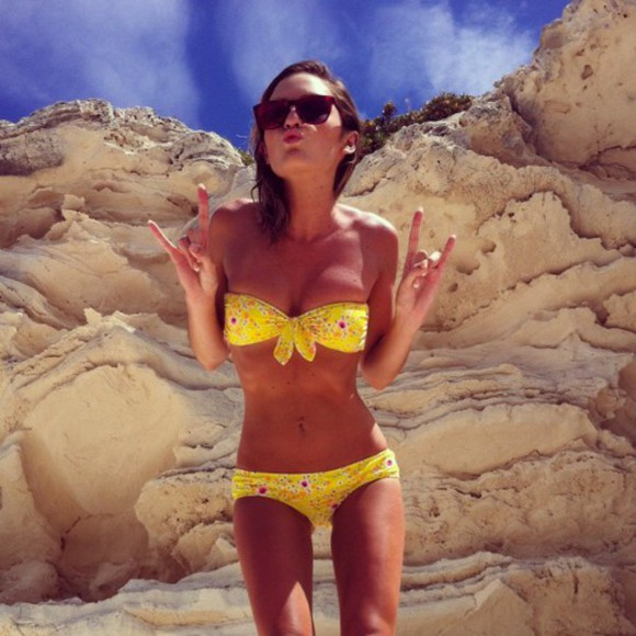 swimwear bikini yellow yellow swimwear sunglasses bandeau bikini beach clothings floral bow bandeau floral