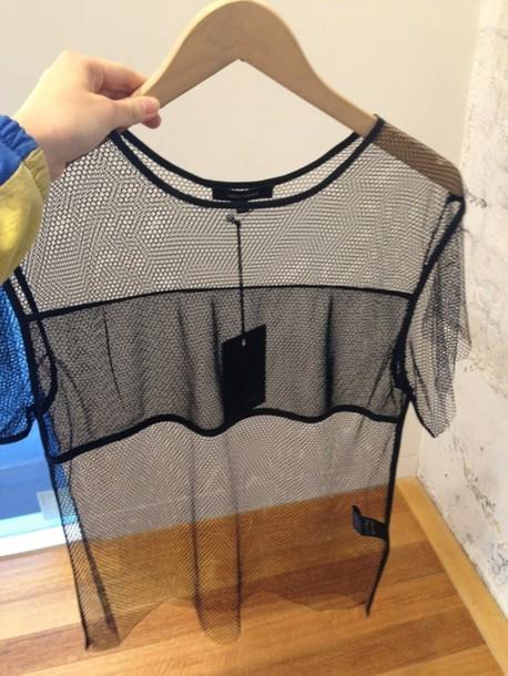 t-shirt, see through, mesh, black, top, t-shirt, clear