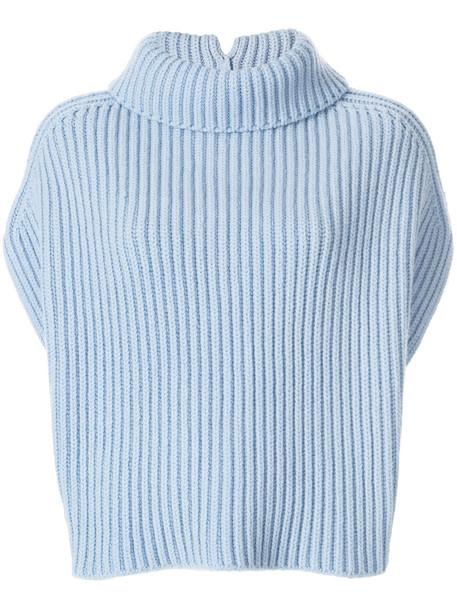 jumper sleeveless women blue wool sweater