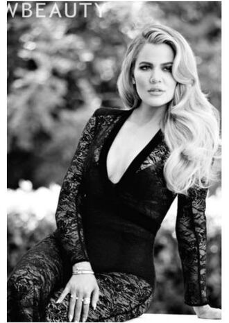 jumpsuit lace plunge v neck khloe kardashian top black see through sexy editorial shoes