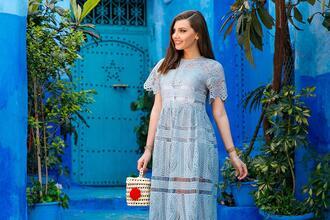 the mysterious girl blogger dress bag shoes blue dress basket bag crochet dress