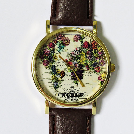 The World in Full Bloom Map Floral Watch, Vintage Style Leather Watch, Women Watches,Mens Watch, Boyfriend Watch,