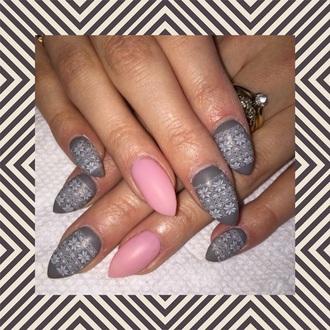nail polish gray pink and gray tribal pattern nail long nails almond nails pretty nails christmas