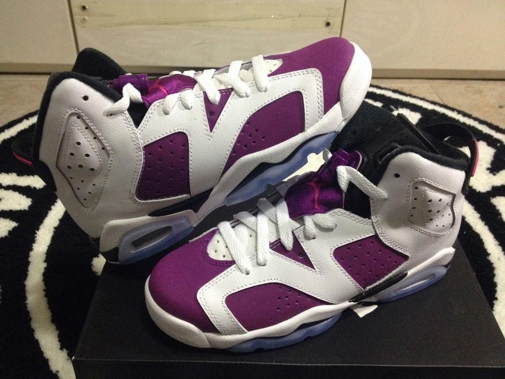a1c17fb90a9 Nike Air Jordan 6 VI Retro Bright Grape Sz 6C-7y GS PS Kids Purple Black  Carmine