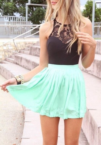 dress mint black top
