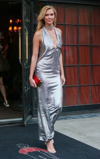 dress silver gown prom dress metallic karlie kloss model sandals clutch ny fashion week 2016 sequins sequin dress v neck plunge v neck v neck dress choker necklace
