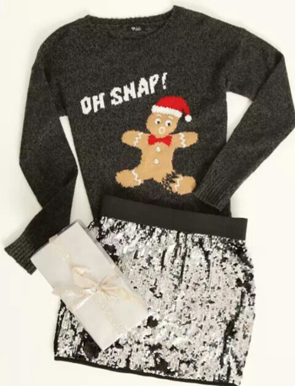 Deb Junior Long Sleeve Gingerbread Holiday Sweater with Oh Snap ...