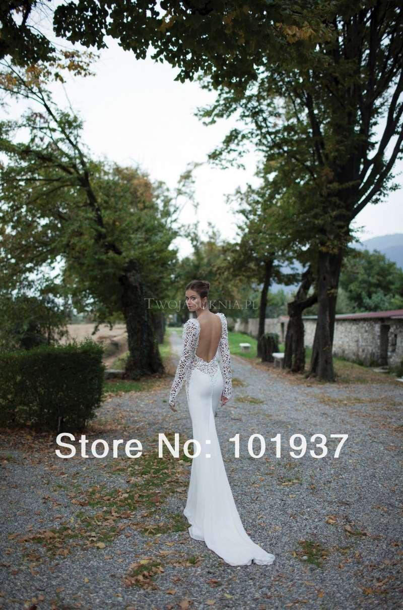 2014 new design elegant white lace court train sweetheart sheath long sleeve open back wedding dress bridal gowns
