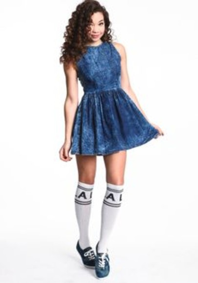 cute dress denim dress want want want! dress socks