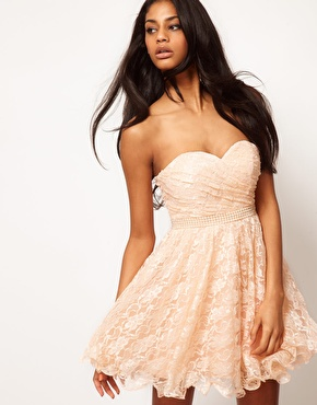 Opulence England | Opulence England Lace Bandeau Prom Dress With Pearl Waistband at ASOS