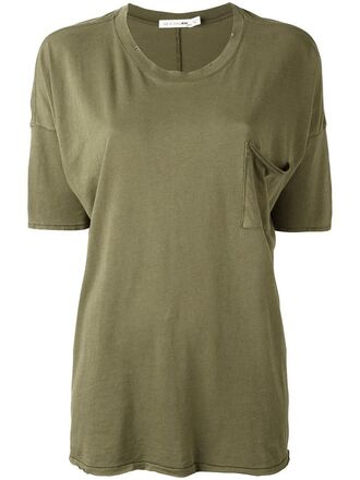 t-shirt shirt women cotton green top