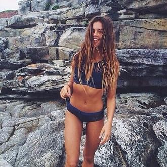swimwear blue blue bikini mesh blue mesh summer cute bikini bikini top bikini bottoms mesh top style fashion
