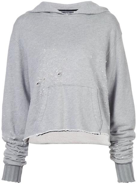 Amiri hoodie women cotton grey sweater