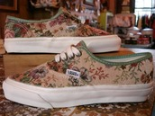 flat,vans,pattern,liberty,flowers,brown shoes,green shoes,purple shoes,shoes