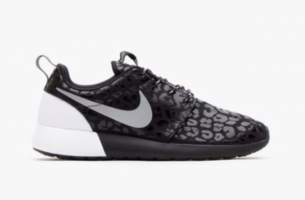 shoes, nike running shoes, black, white, nike shoes with leopard ...
