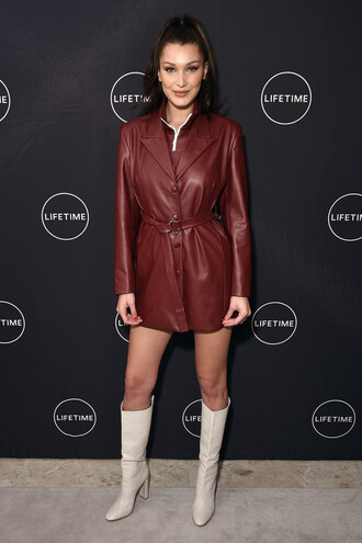 dress leather leather jacket leather dress bella hadid boots model off-duty shoes