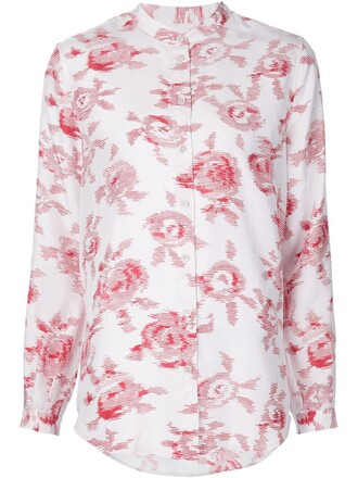shirt women white print silk top