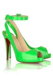 shoes,bright,neon,green,peep toe heels,ankle strap heels,high heels,spring,summer