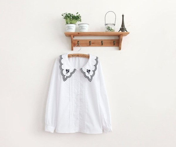 blouse blouse top top fashion clothes asian asian china korean fashion korean fashion mcclaugherty white whites whitecollarblouse white blouse white top collarblouse peterpan peterpancollar