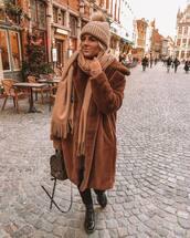 coat,faux fur coat,patent shoes,lace up boots,louis vuitton backpack,scarf,black jeans,skinny jeans,knit,hat