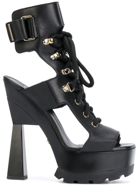 VERSACE chunky sandals women sandals lace leather black shoes