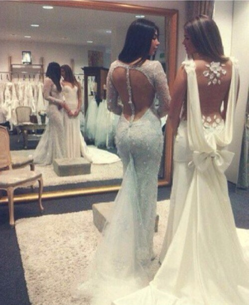 dress, white, champagne, champagne dress, wedding, lovely, open back ...