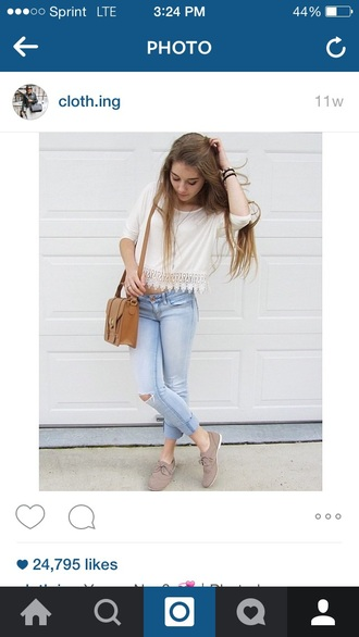 jeans acid wash cropped pants ripped jeans bag shirt