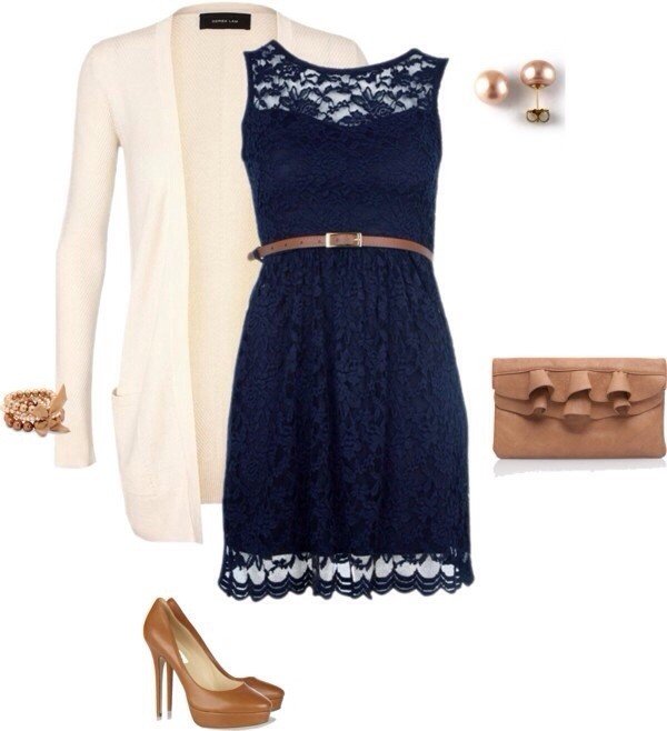 dress cute blue dress lace dress bag jacket navy dress navy