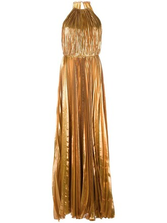 gown pleated women spandex silk grey metallic dress
