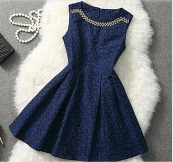 navy blue dress party dress prom dress graduation dress