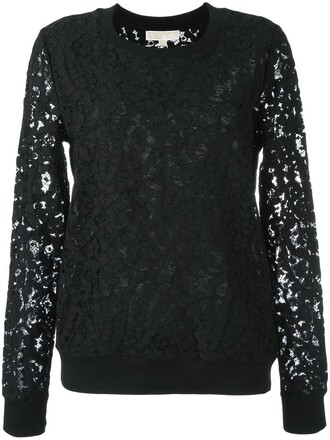 sweatshirt women lace floral cotton black sweater