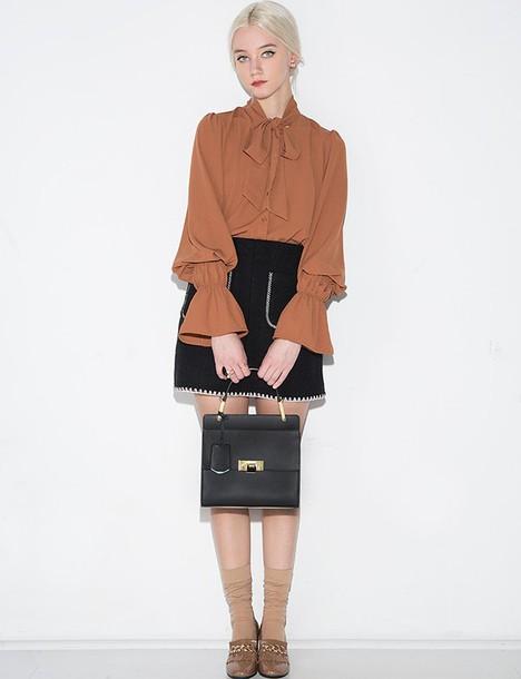 662de056ff7737 blouse brown bow tie blouse brown bow tie bow tie blouse romantic style  romantic blouse cute