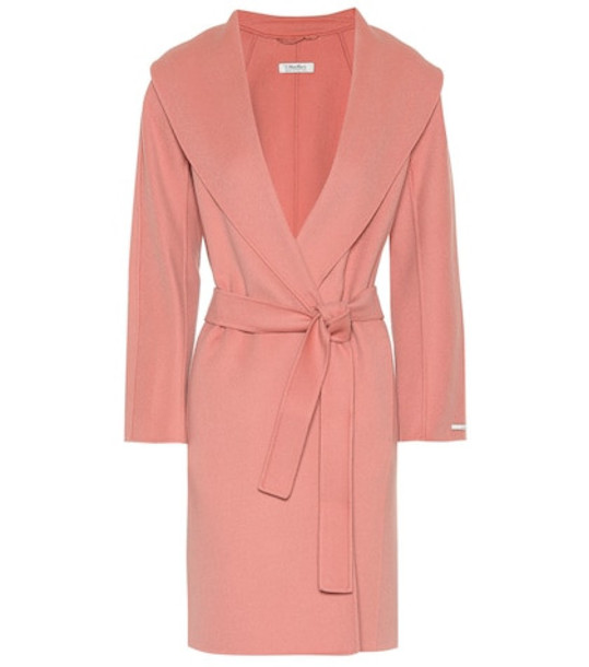 S Max Mara Messi wool wrap coat in pink