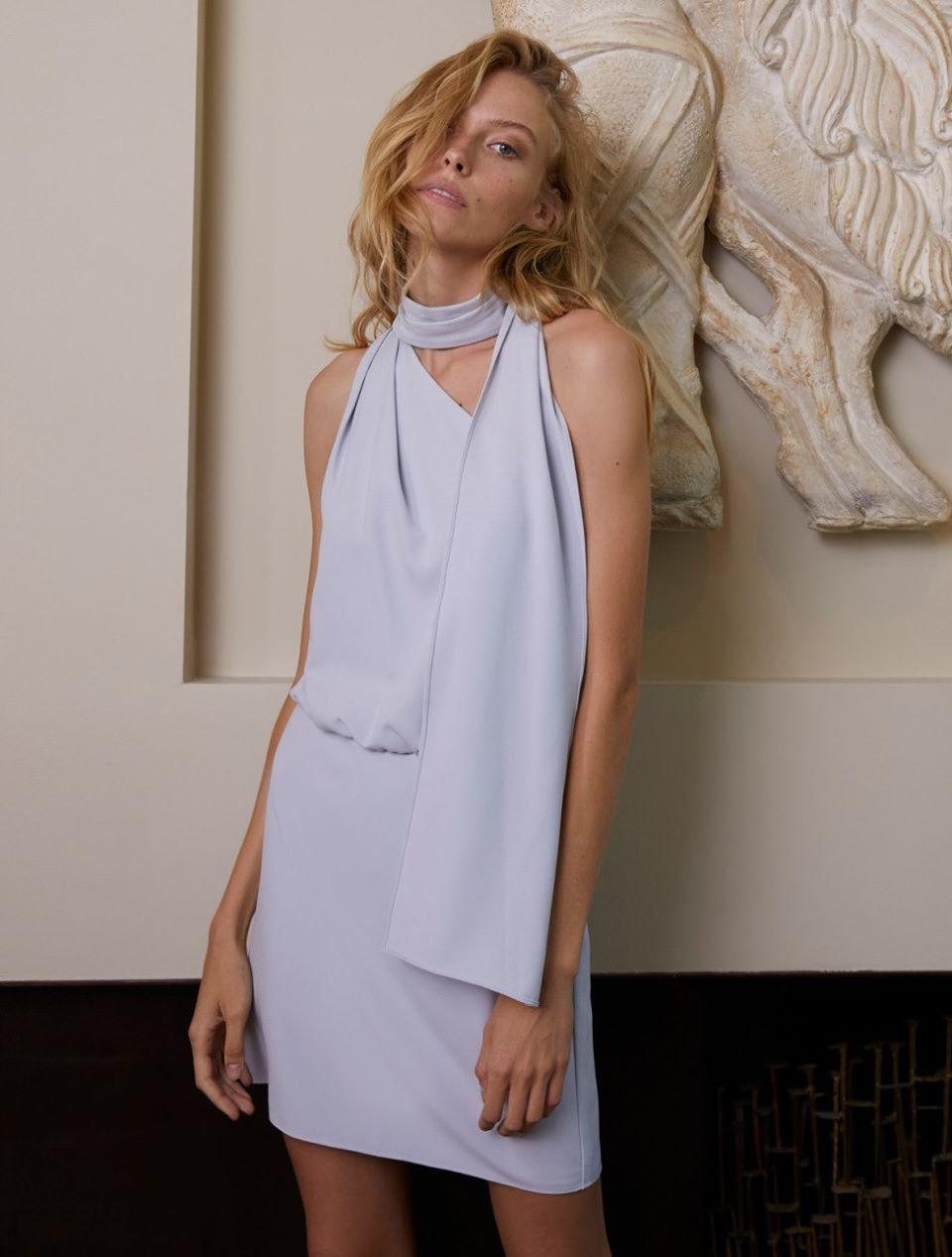 Scarf Neck Dress - Slate Grey - Size 2 by Halston Heritage