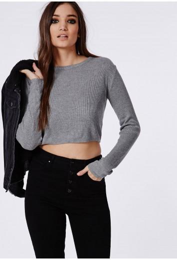 Skinny rib knitted cropped jumper grey
