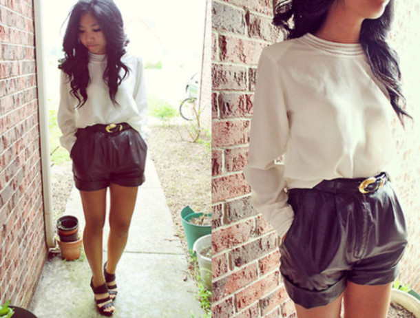pants shorts sweater belt black white shoes street blouse