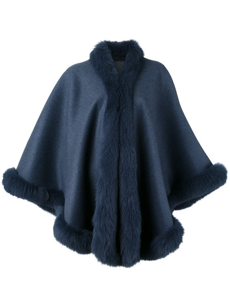 Liska cape fur fox women blue top