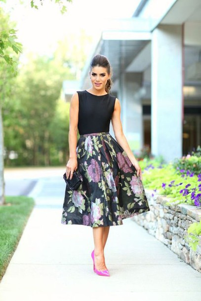 8c5117d8a4b6 skirt, wedding guest, midi skirt, floral skirt, black skirt, top ...
