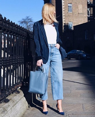 jeans top blazer blue blazer striped blazer pumps bag denim blue jeans white top handbag