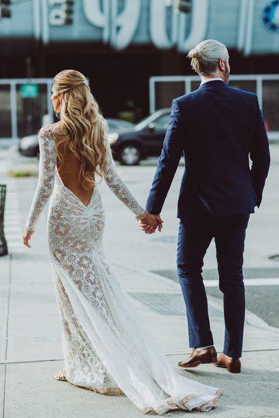 68f6d90642 dress lace dress wedding dress open back dresses long sleeve dress bohemian  wedding dress hipster wedding
