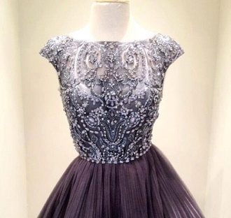 dress prom purple gold cute glamour jewel chiffon sheer short long