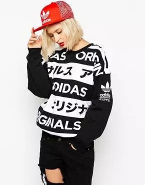 sweater adidas sweater adidas black and white adidas originals
