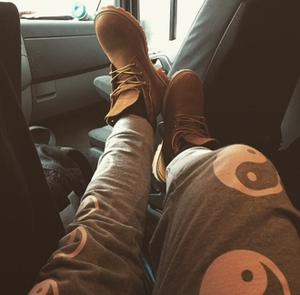 pants grey gray white style sweatpants grey sweatpants yin yang fashion shoes boots