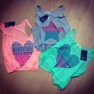 tank top tanktop cropped crop tops colours top fashion clothes lovely shoes shirt t-shirt stars heart pink green heards beautiful summer young blouse
