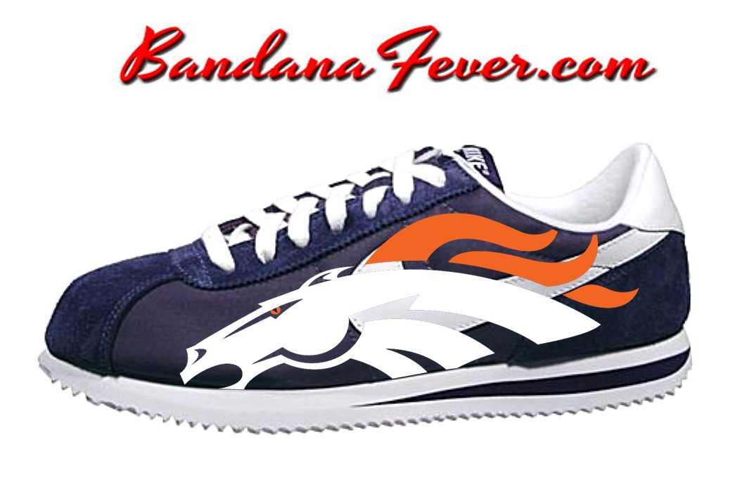 the latest 62fc2 1f069 Custom Broncos Nike Cortez Nylon Midnight Navy White,  denverbroncos,   broncos, by Bandana Fever