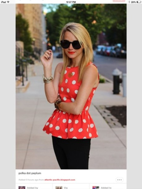 blouse orange polka dots peplum