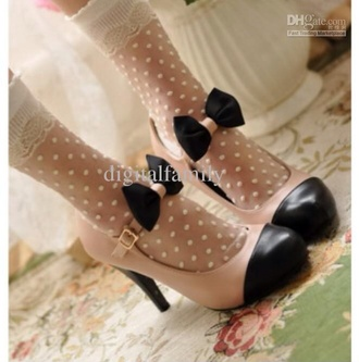 shoes cream beige black shoes belt retro style black bow high heels vintage
