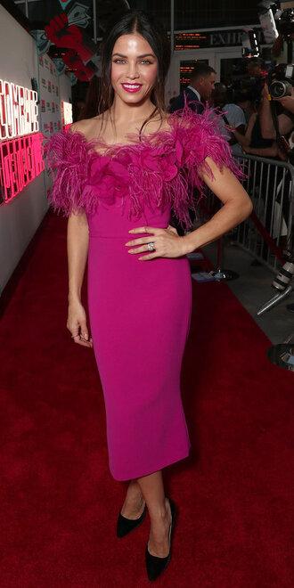 dress feathers feather dress pink pink dress pumps jenna dewan midi dress off the shoulder off the shoulder dress