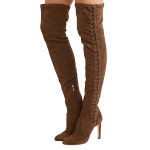 Brown Lace Up Thigh High Long Boots