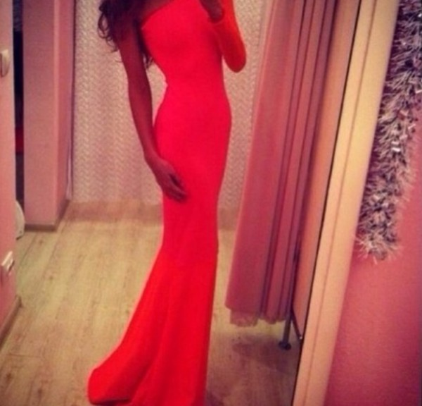 dress red dress red prom dress one sleeve dress